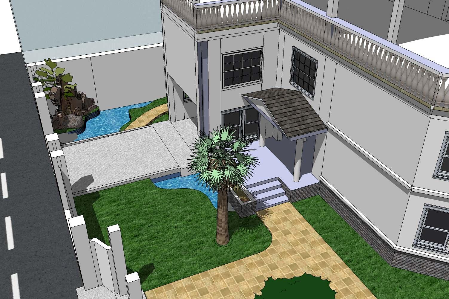 手绘 别墅水池平面图